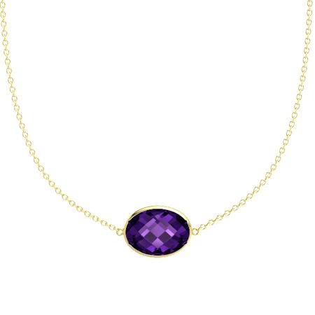 Oval briolettes amethyst 14k yellow gold pendant bold east west bold east west oval necklace mozeypictures Gallery
