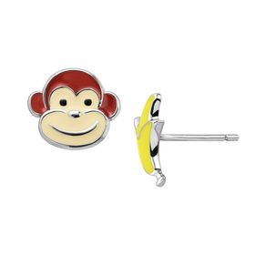 Girl's Monkey & Banana Stud Earrings