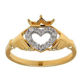 1/8 ct Diamond Claddagh Heart Ring