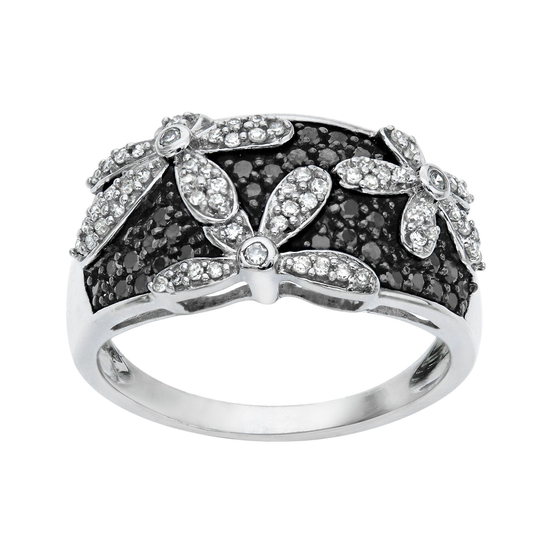 12 Ct Black White Diamond Flower Ring In 14k White Gold 12 Ct