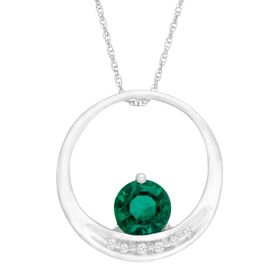 3/4 ct Emerald Circle Pendant with Diamonds