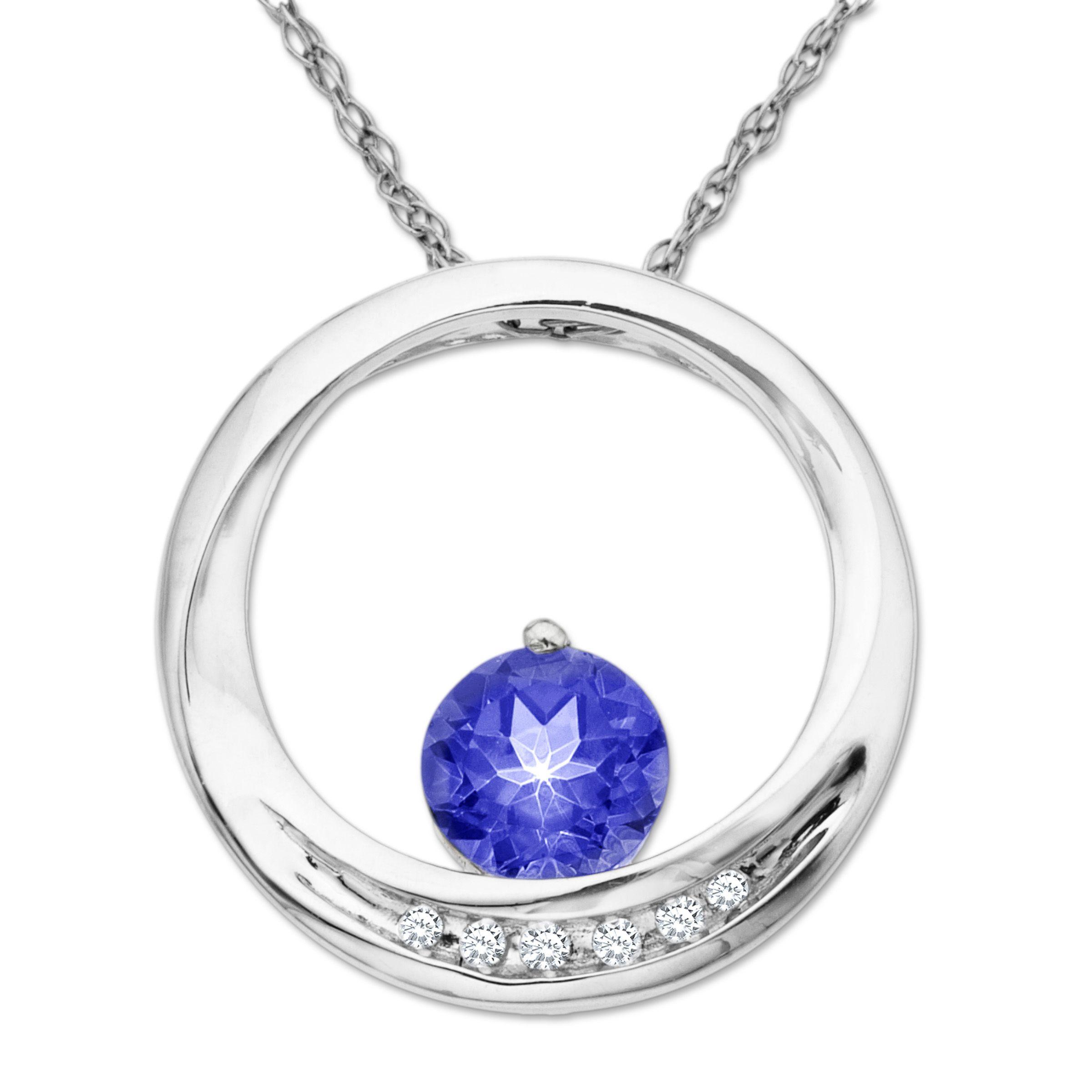 1 16 ct created ceylon sapphire circle pendant with diamonds in 14k 1 16 ct created ceylon sapphire circle pendant with diamonds in 14k white gold mozeypictures Gallery