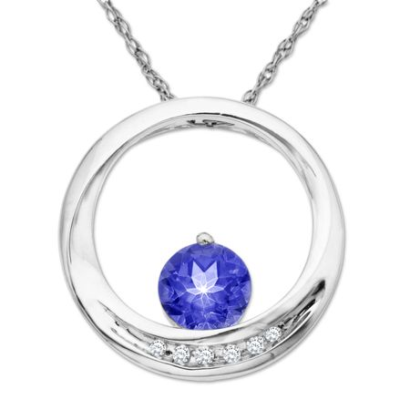 1 16 ct created ceylon sapphire circle pendant with diamonds in 14k 1 16 ct ceylon sapphire circle pendant mozeypictures Image collections