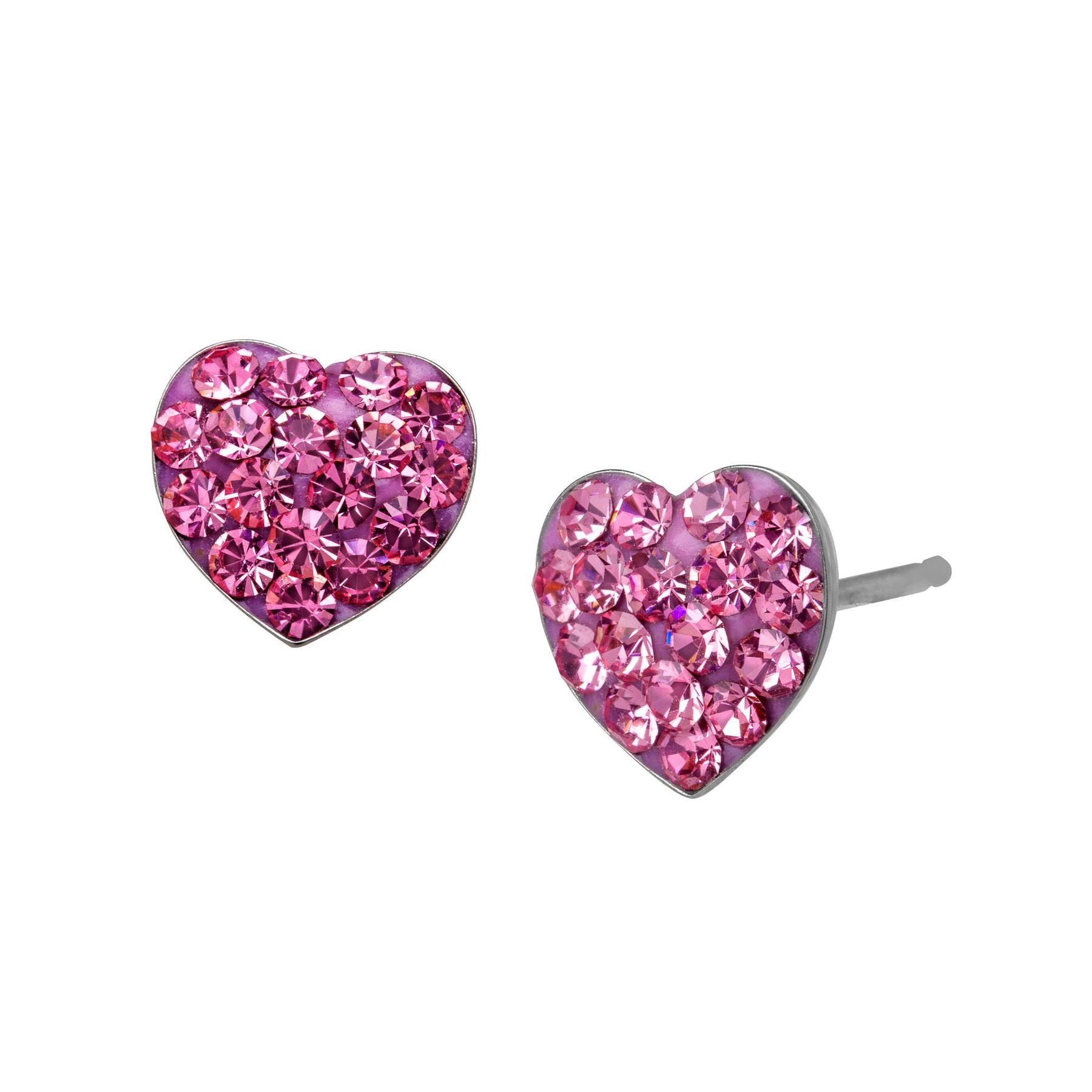Heart Stud Earrings With Swarovski Crystals