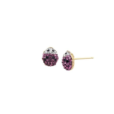 7d8817a3c Girl's Lady Bug Earrings with Pink Swarovski Crystal in 14K Gold ...