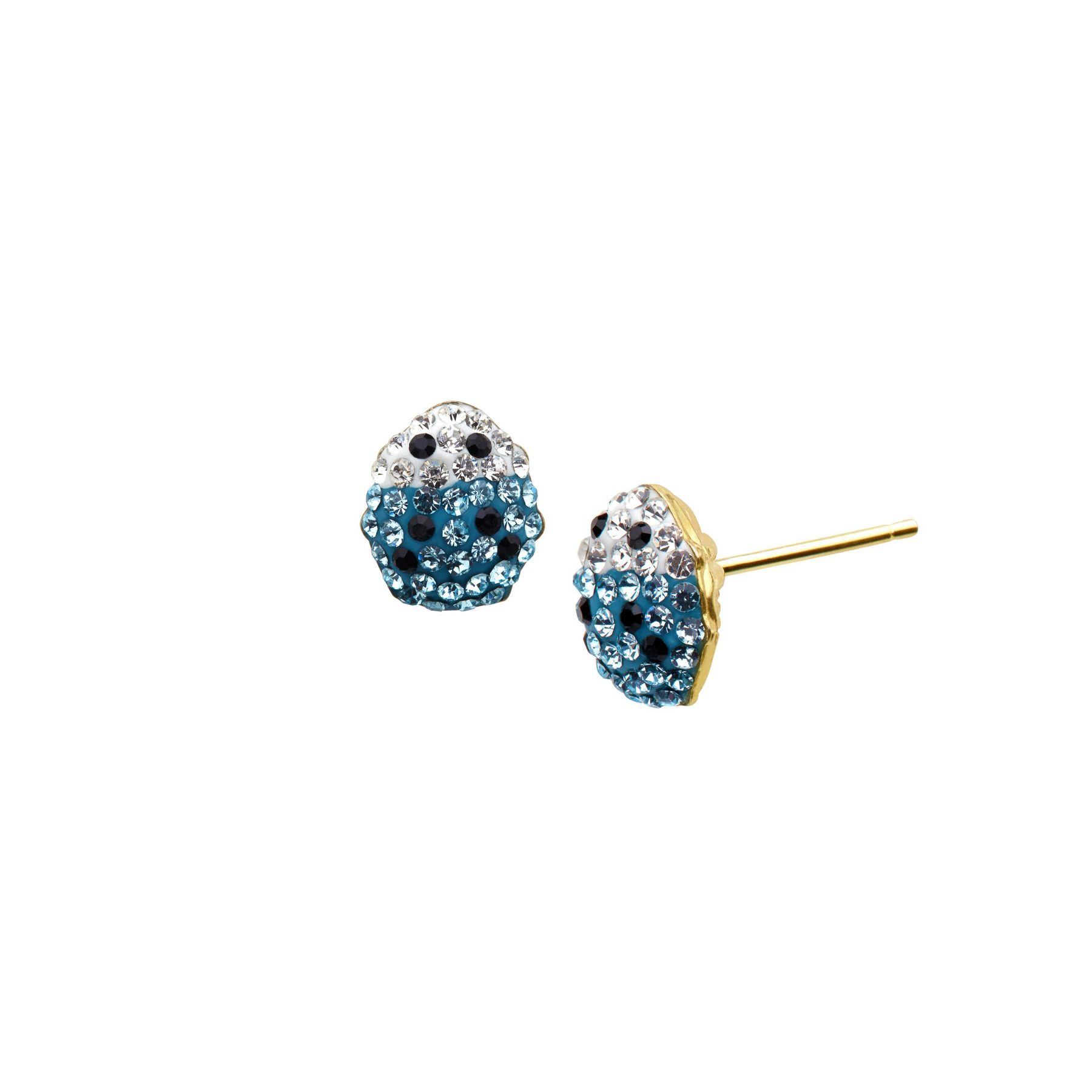 Girls Lady Bug Stud Earrings with Pink Swarovski Crystal in 14K Gold-Plated Sterling Silver