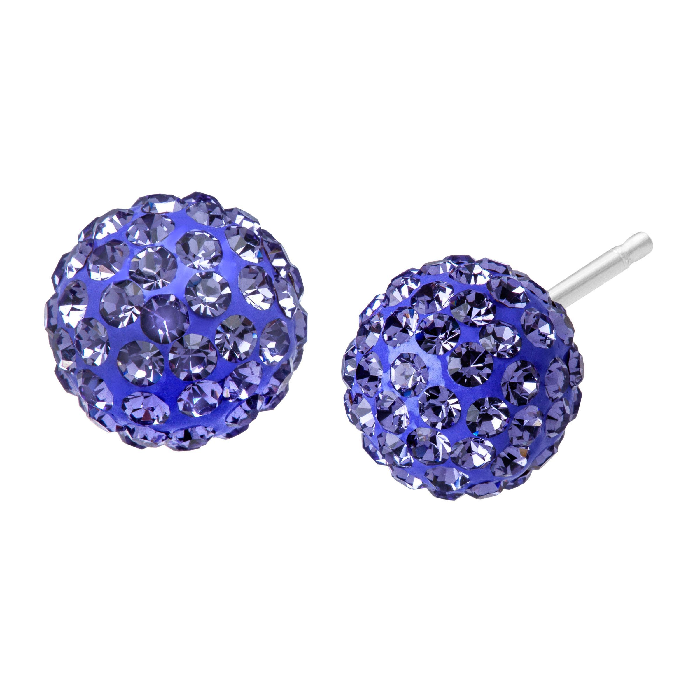 5f342b5da Details about Crystaluxe Ball Stud Earrings w/ Purple Swarovski Crystals in  Sterling Silver