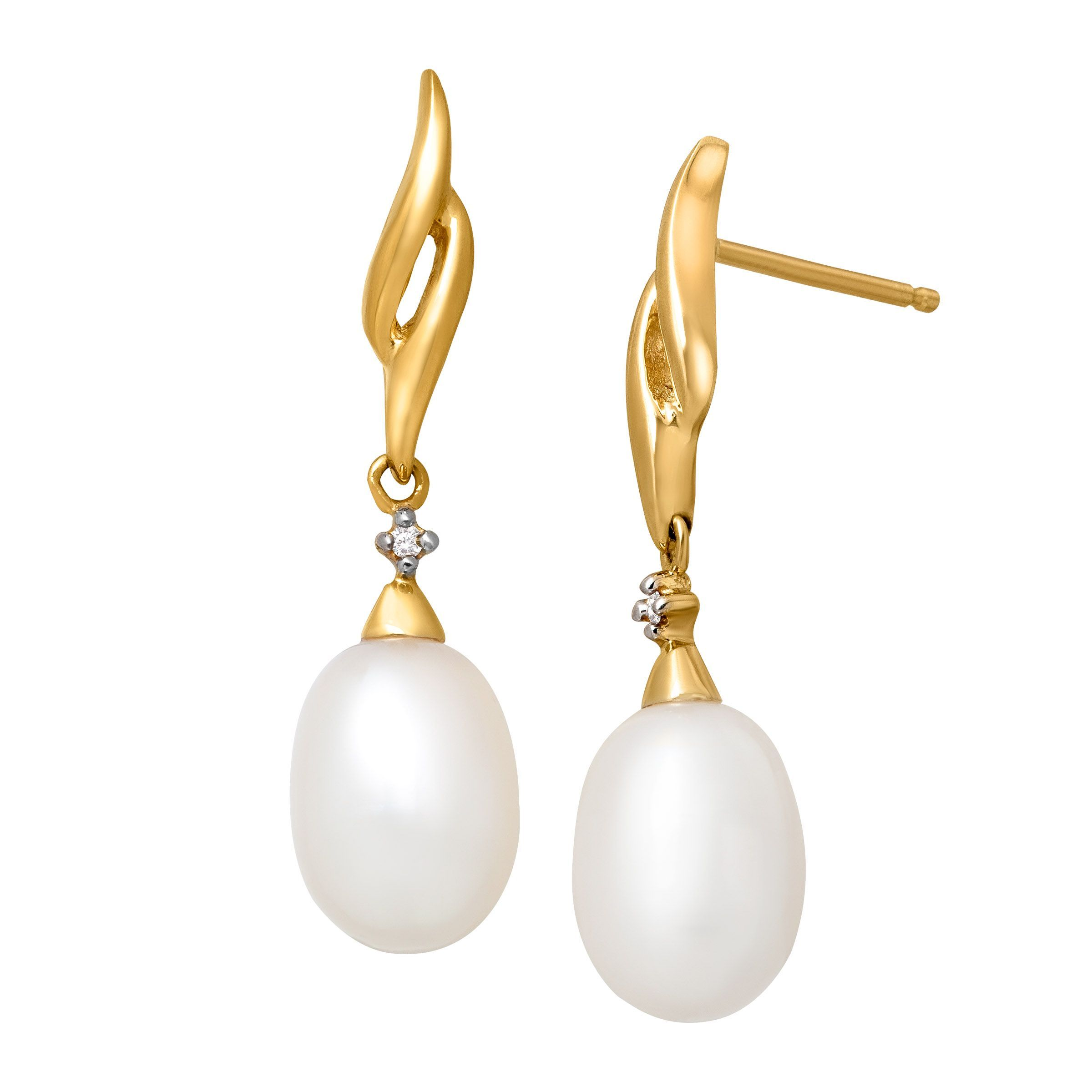 Details About Freshwater Pearl Drop Earrings With Diamonds In 14k Gold