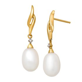 Pearl Drop Earrings with Diamonds