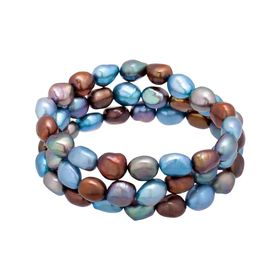 Set of 3 9-10 mm Denim Pearl Bracelets