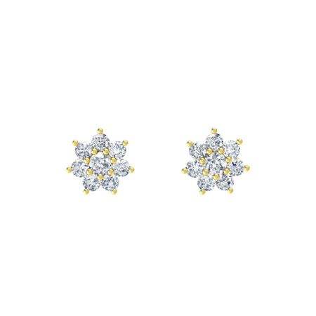 Round Diamond 14k Yellow Gold Earring With Diamond Flowering Stud