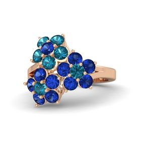 14K Rose Gold Ring with Blue Sapphire and London Blue Topaz