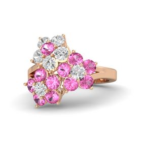 14K Rose Gold Ring with Pink Tourmaline and White Sapphire