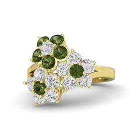 14K Yellow Gold Ring with White Sapphire and Green Tourmaline