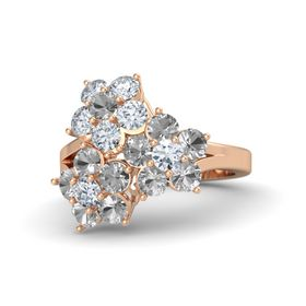 18K Rose Gold Ring with Rock Crystal and Diamond