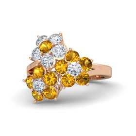 18K Rose Gold Ring with Citrine and Diamond