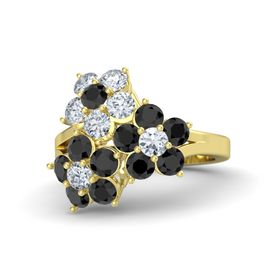 18K Yellow Gold Ring with Black Diamond and Diamond