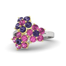 Sterling Silver Ring with Pink Sapphire and Iolite
