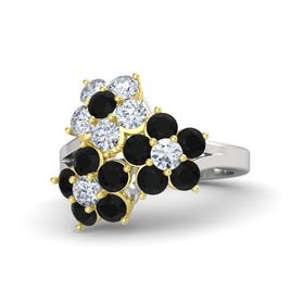 Sterling Silver Ring with Black Onyx & Diamond