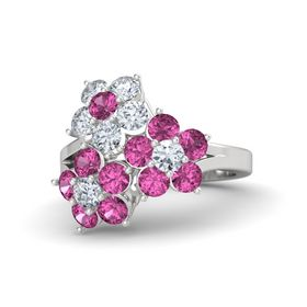 Sterling Silver Ring with Pink Sapphire and Diamond