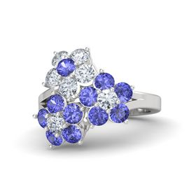 Sterling Silver Ring with Tanzanite & Diamond