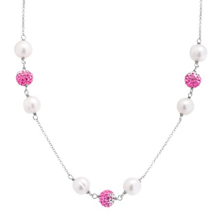 Pearl Station Necklace with Pink Ombré Swarovski Crystals