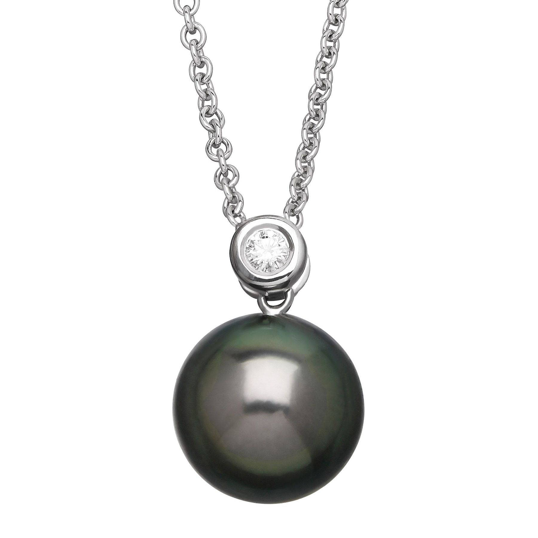 Honora tahitian freshwater cultured pearl pendant with diamond in tahitian pearl pendant with diamond aloadofball Image collections
