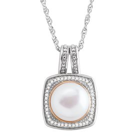 Honora 10 mm Pearl & 1/8 ct Diamond Pendant