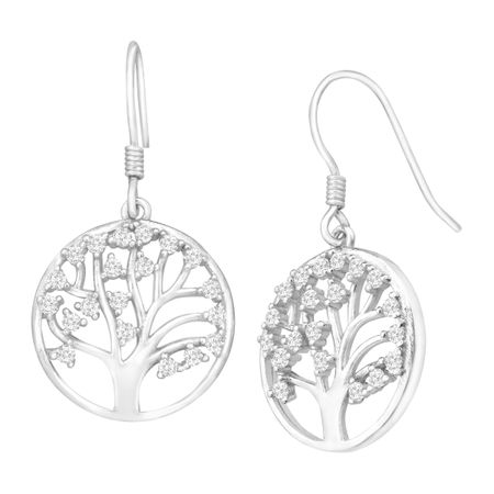 Tree of Love Drop Earrings with Cubic Zirconia