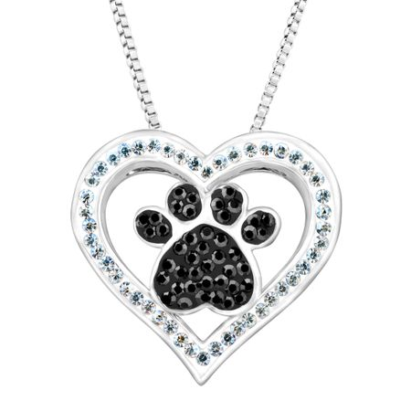Paw & Heart Pendant with Swarovski Crystals