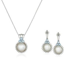 Pearl & Topaz Earring & Necklace Set