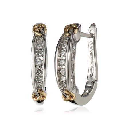 afb199bf77ca6 1/6 ct Diamond Love Knot Hoop Earrings in Sterling Silver & 14K Gold