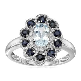 Aquamarine & Sapphire Flower Ring with Diamonds