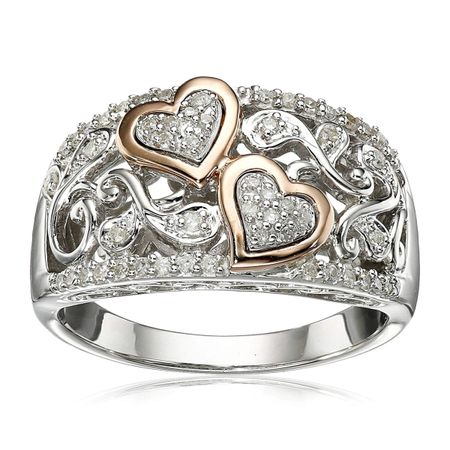 1/4 ct Diamond Two Heart Ring