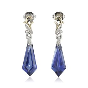 Ceylon Sapphire Earrings with Diamonds