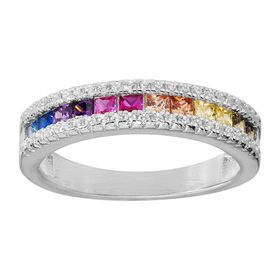 Rainbow Cubic Zirconia Band Ring