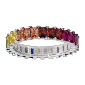 Rainbow Cubic Zirconia Eternity Baguette Ring