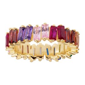 Rainbow Eternity Baguette Ring, Yellow