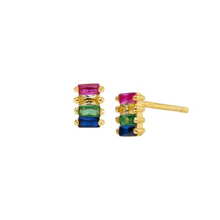 Rainbow Baguette Stud Earrings