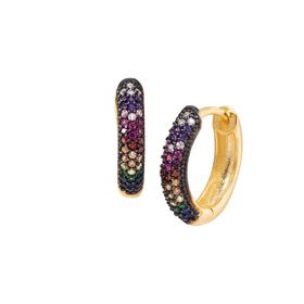Rainbow Cubic Zirconia Huggie Hoop Earrings
