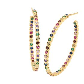 Rainbow Cubic Zirconia Oval Hoop Earrings