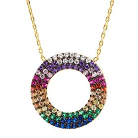 Open Circle Rainbow Cubic Zirconia Pendant