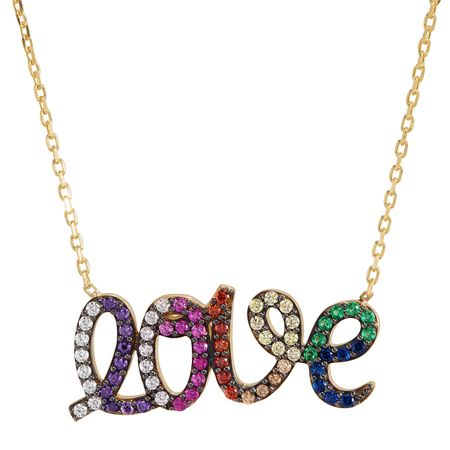 'Love' Rainbow Cubic Zirconia Script Necklace