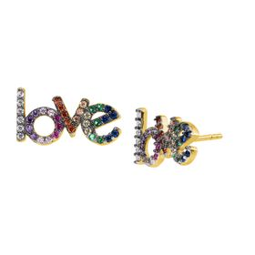 'Love' Rainbow Cubic Zirconia Earrings