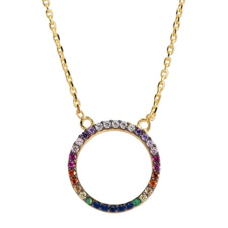 Small Rainbow Cubic Zirconia Circle Necklace