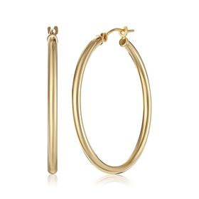 30 mm Polished Hoop Earrings, Yellow
