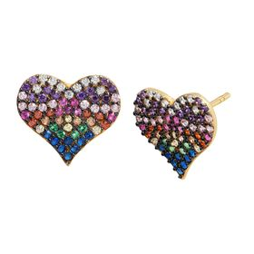 Rainbow Cubic Zirconia Heart Stud Earrings