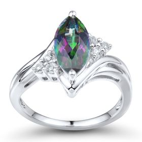 Mystic Topaz & White Sapphire Marquise Ring