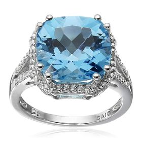 Swiss Blue Topaz Cocktail Ring with Diamonds