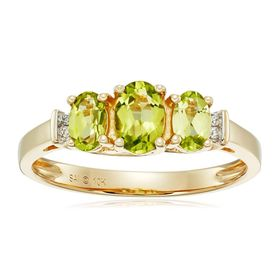 Three-Stone Peridot Ring with Diamonds